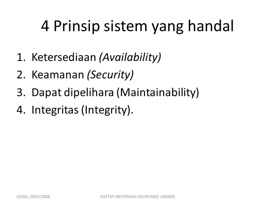 GASAL 2007/2008SISTEM INFORMASI AKUNTANSI (AK069) 4 Prinsip sistem yang handal 1.Ketersediaan (Availability) 2.Keamanan (Security) 3.Dapat dipelihara