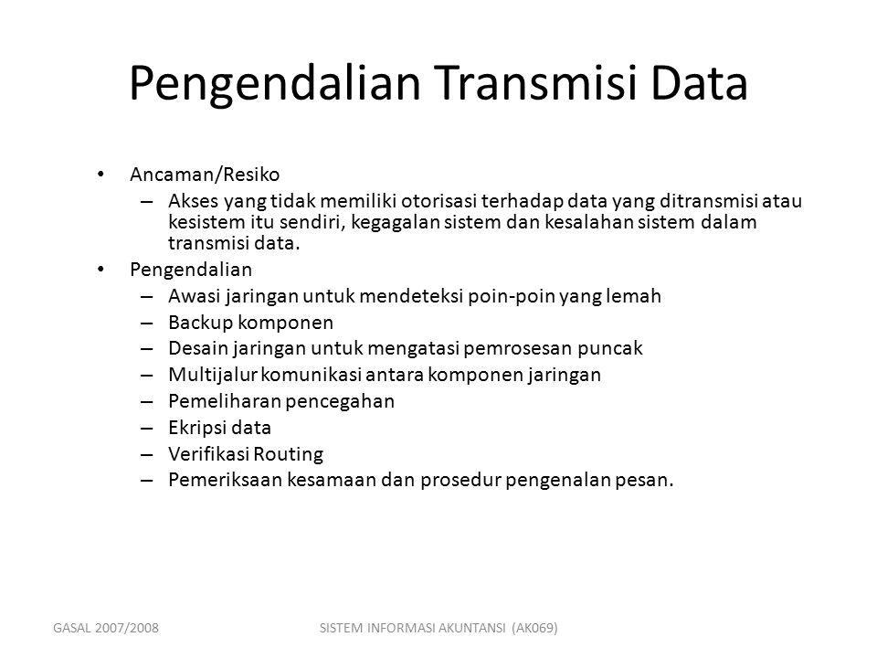 GASAL 2007/2008SISTEM INFORMASI AKUNTANSI (AK069) Pengendalian Transmisi Data Ancaman/Resiko – Akses yang tidak memiliki otorisasi terhadap data yang