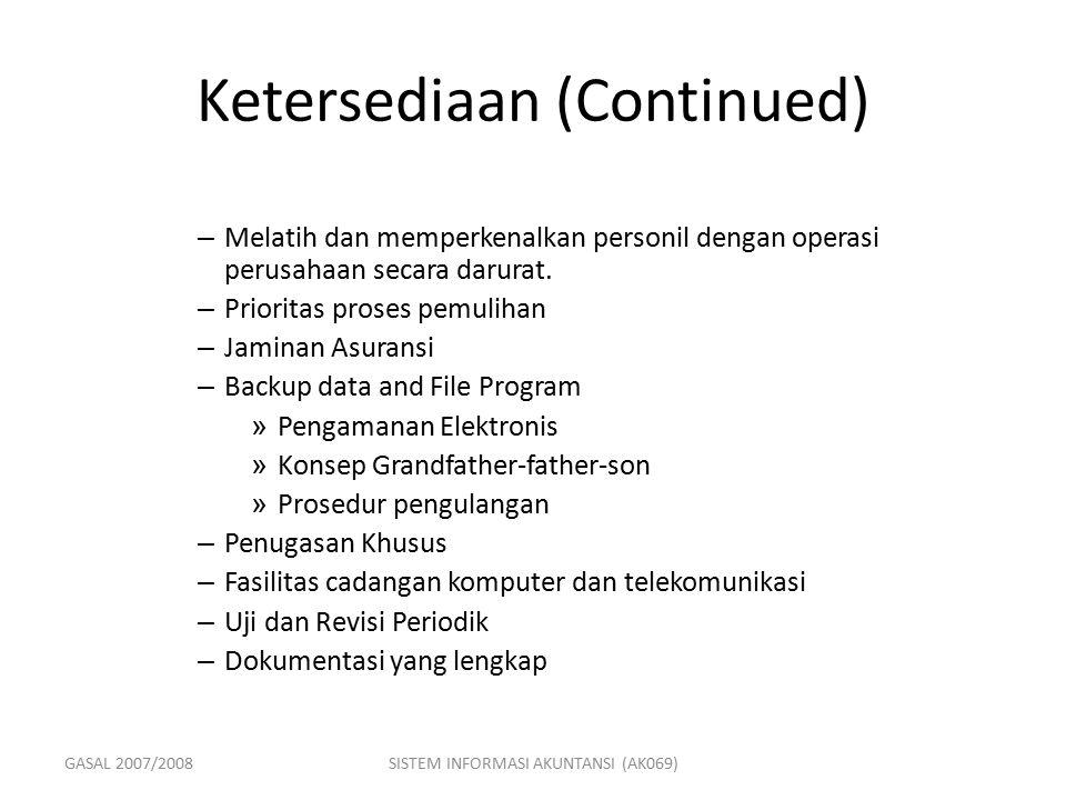 GASAL 2007/2008SISTEM INFORMASI AKUNTANSI (AK069) Ketersediaan (Continued) – Melatih dan memperkenalkan personil dengan operasi perusahaan secara daru