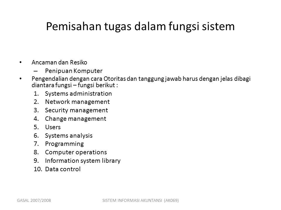 GASAL 2007/2008SISTEM INFORMASI AKUNTANSI (AK069) Pemisahan tugas dalam fungsi sistem Ancaman dan Resiko – Penipuan Komputer Pengendalian dengan cara