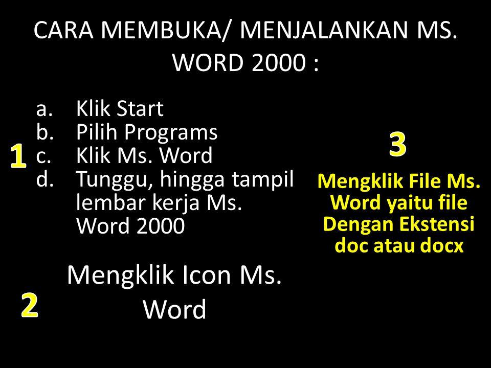CARA MEMBUKA/ MENJALANKAN MS. WORD 2000 : a.Klik Start b.Pilih Programs c.Klik Ms. Word d.Tunggu, hingga tampil lembar kerja Ms. Word 2000 Mengklik Ic
