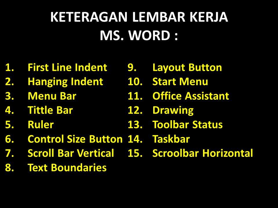 KETERAGAN LEMBAR KERJA MS. WORD : 1.First Line Indent9. Layout Button 2.Hanging Indent10. Start Menu 3.Menu Bar11.Office Assistant 4.Tittle Bar12.Draw