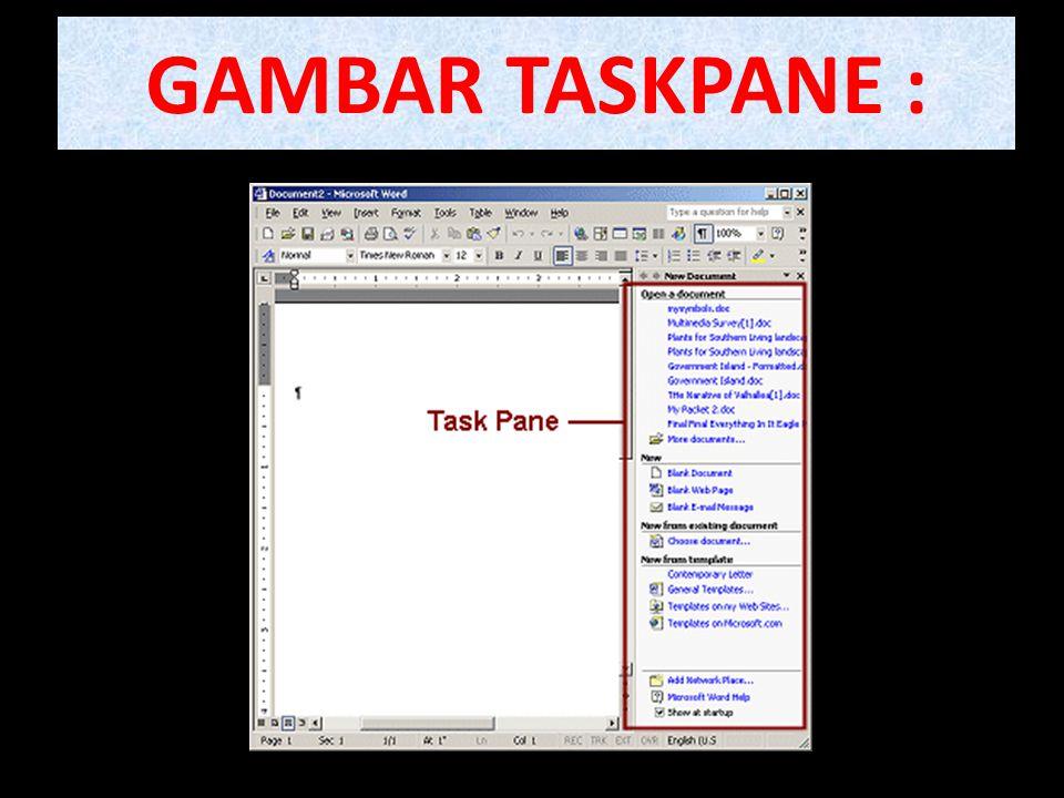 GAMBAR TASKPANE :
