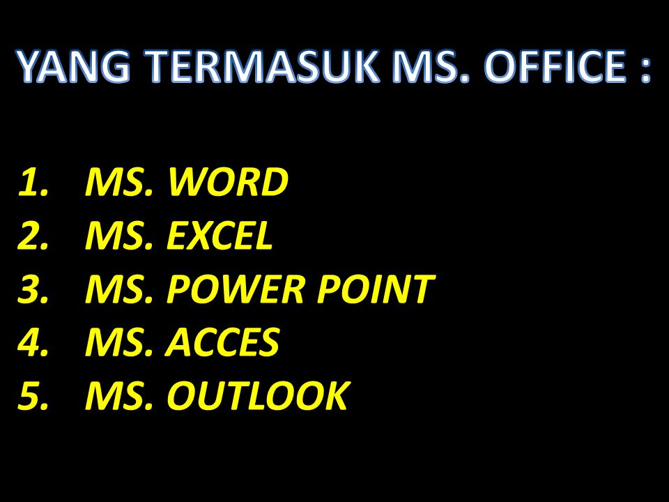 1.MS. WORD 2.MS. EXCEL 3.MS. POWER POINT 4.MS. ACCES 5.MS. OUTLOOK