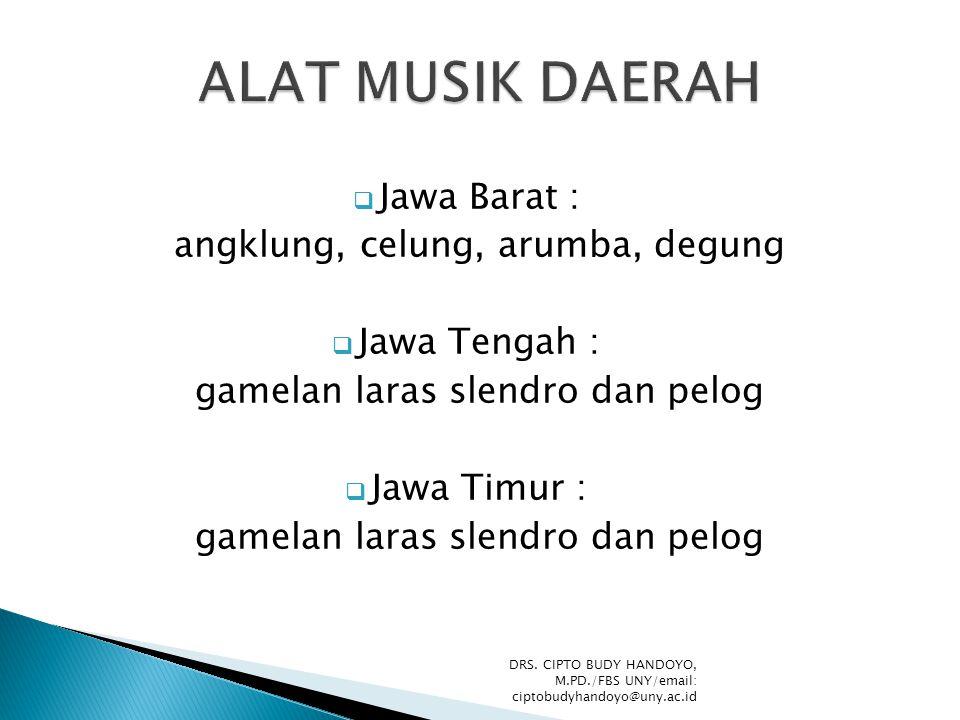  Jawa Barat : angklung, celung, arumba, degung  Jawa Tengah : gamelan laras slendro dan pelog  Jawa Timur : gamelan laras slendro dan pelog DRS. CI
