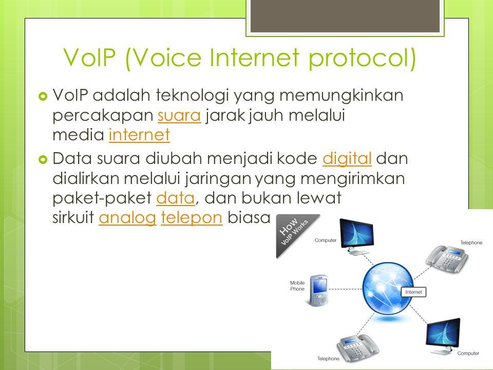 IRC (Internet Relay Chat)  Layanan yang memungkinan pengguna untuk bercakap-cakap menggunakan text (chatting) secara real time.