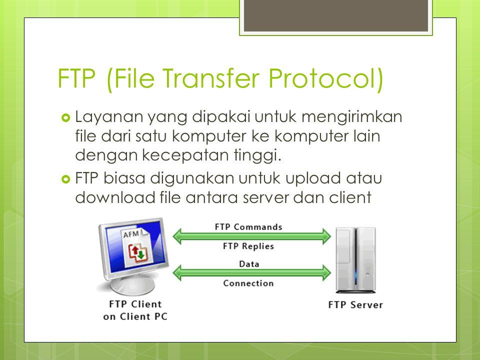 WWW (World Wide Web)  Layanan Informasi yang langsung ditampilkan di computer client dengan menggunakan protokol HTTP (HyperText Transfer Protocol)  sebenarnya WWW merupakan kumpulan dokumen yang tersimpan di server web, dan servernya tersebar di lima benua termasuk Indonesia yang terhubung menjadi satu melalui jaringan Internet
