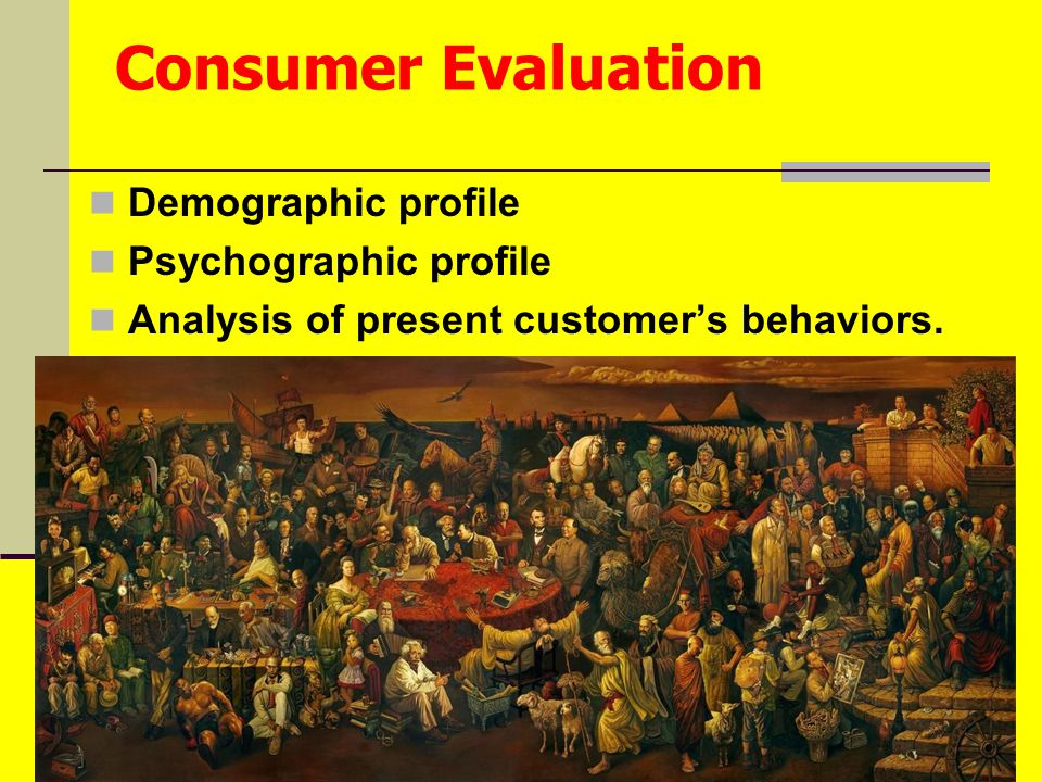 Penulisan Naskah Iklan by agus Consumer Evaluation Demographic profile Psychographic profile Analysis of present customer's behaviors.