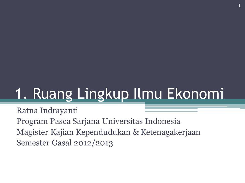 1. Ruang Lingkup Ilmu Ekonomi Ratna Indrayanti Program Pasca Sarjana Universitas Indonesia Magister Kajian Kependudukan & Ketenagakerjaan Semester Gas