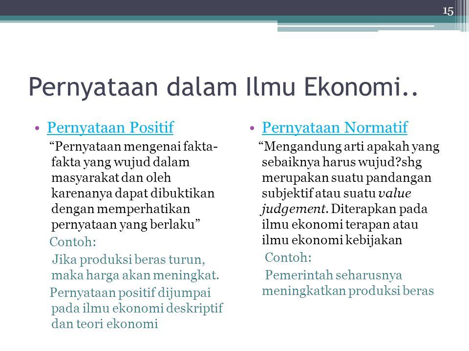 """Pernyataan dalam Ilmu Ekonomi.. Pernyataan Positif """"Pernyataan mengenai fakta- fakta yang wujud dalam masyarakat dan oleh karenanya dapat dibuktikan d"""