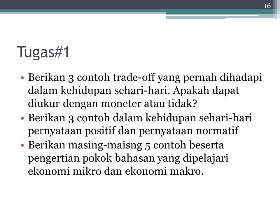 Tugas#1 Berikan 3 contoh trade-off yang pernah dihadapi dalam kehidupan sehari-hari. Apakah dapat diukur dengan moneter atau tidak? Berikan 3 contoh d
