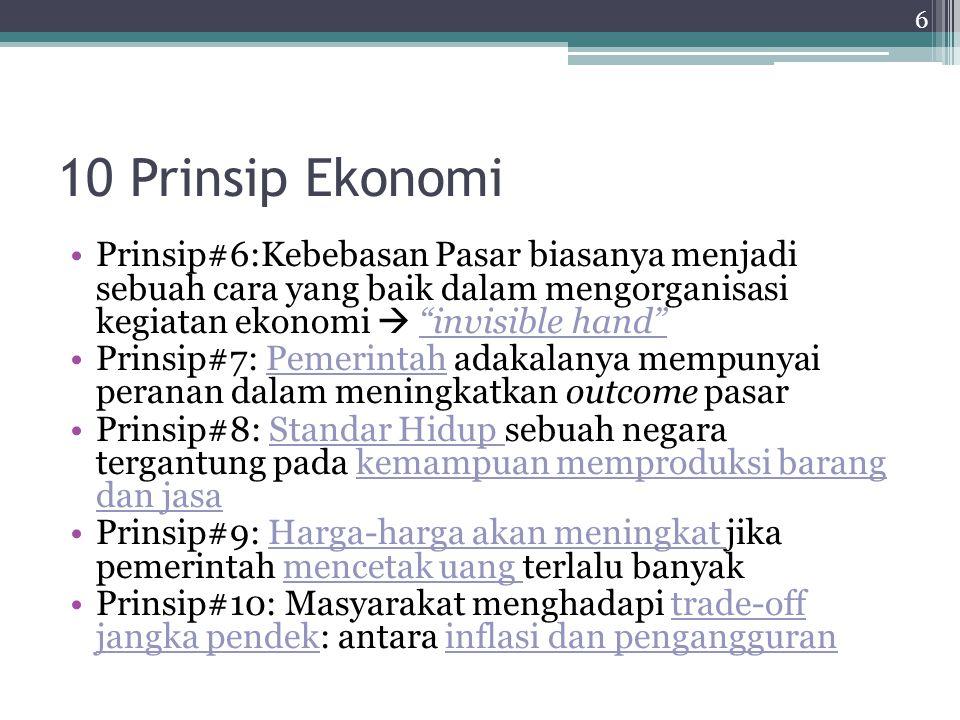"""10 Prinsip Ekonomi Prinsip#6:Kebebasan Pasar biasanya menjadi sebuah cara yang baik dalam mengorganisasi kegiatan ekonomi  """"invisible hand"""" Prinsip#7"""