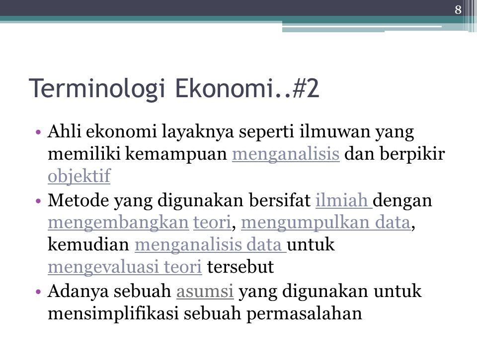 Terminologi Ekonomi..#2 Ahli ekonomi layaknya seperti ilmuwan yang memiliki kemampuan menganalisis dan berpikir objektif Metode yang digunakan bersifa