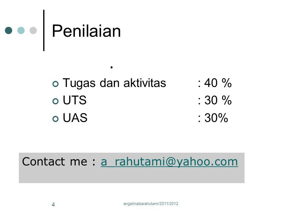 Penilaian Tugas dan aktivitas : 40 % UTS: 30 % UAS: 30% Contact me : a_rahutami@yahoo.coma_rahutami@yahoo.com 4 angelinaikarahutami/2011/2012