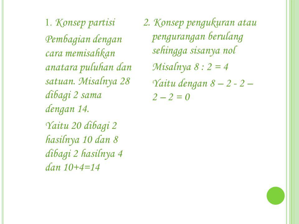 1. Konsep partisi Pembagian dengan cara memisahkan anatara puluhan dan satuan. Misalnya 28 dibagi 2 sama dengan 14. Yaitu 20 dibagi 2 hasilnya 10 dan
