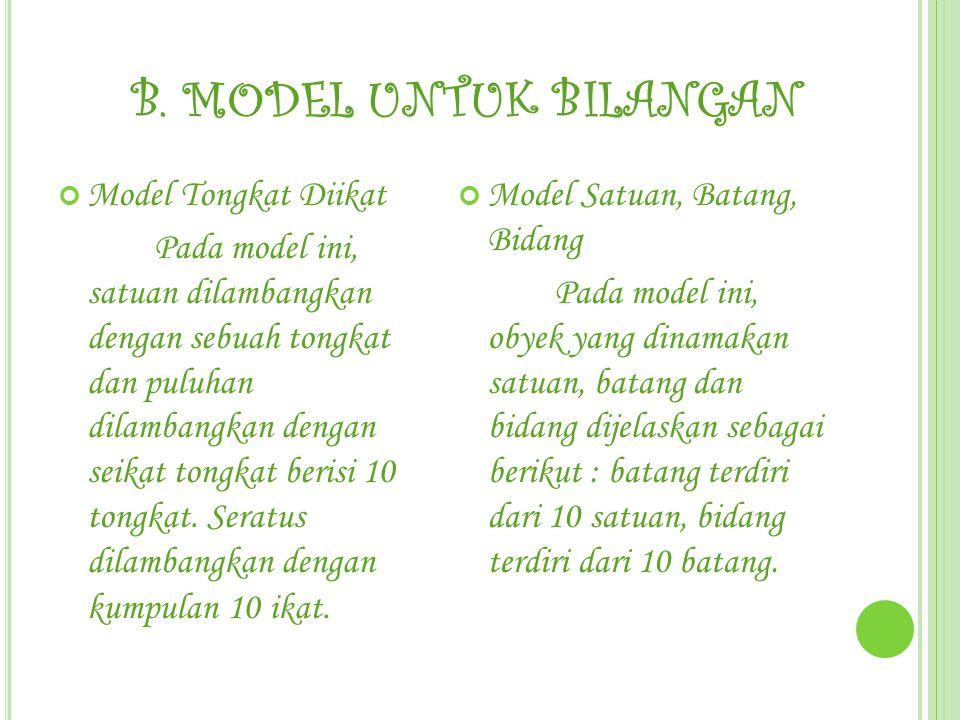 B. MODEL UNTUK BILANGAN Model Tongkat Diikat Pada model ini, satuan dilambangkan dengan sebuah tongkat dan puluhan dilambangkan dengan seikat tongkat