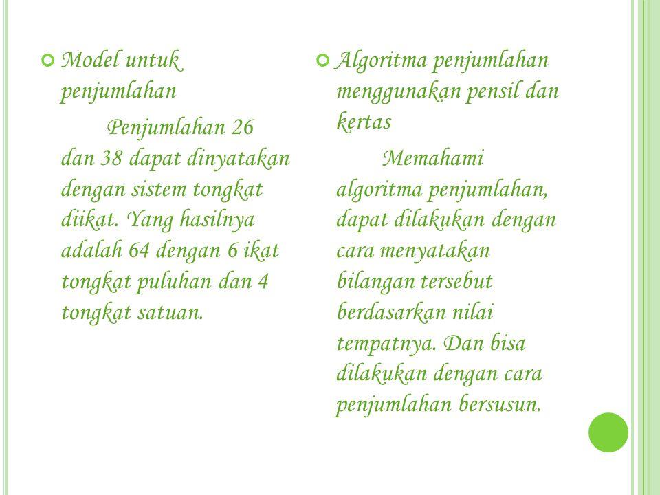 Model untuk penjumlahan Penjumlahan 26 dan 38 dapat dinyatakan dengan sistem tongkat diikat. Yang hasilnya adalah 64 dengan 6 ikat tongkat puluhan dan