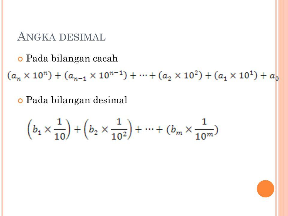A NGKA DESIMAL Pada bilangan cacah Pada bilangan desimal