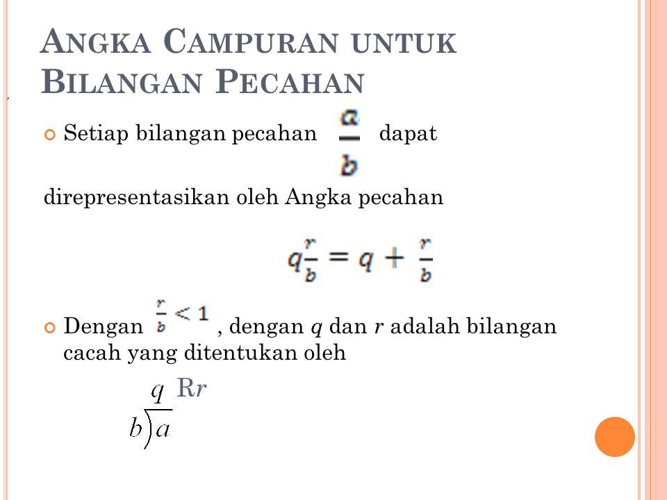 A NGKA C AMPURAN UNTUK B ILANGAN P ECAHAN Setiap bilangan pecahan dapat direpresentasikan oleh Angka pecahan Dengan, dengan q dan r adalah bilangan ca