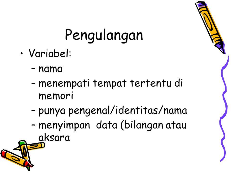 Pengulangan Variabel: –nama –menempati tempat tertentu di memori –punya pengenal/identitas/nama –menyimpan data (bilangan atau aksara