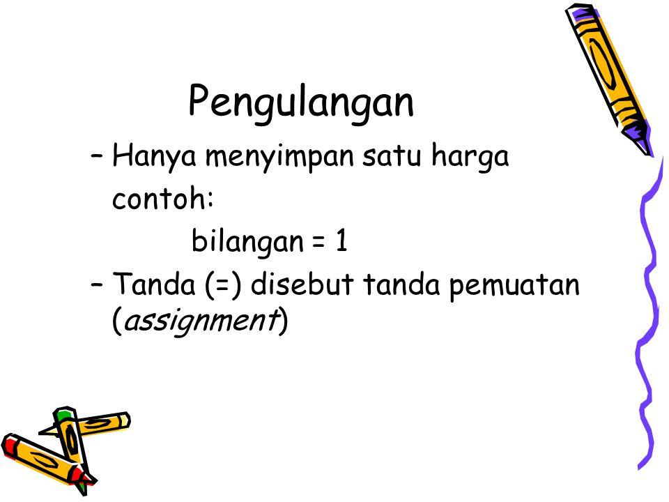 Pengulangan –Hanya menyimpan satu harga contoh: bilangan = 1 –Tanda (=) disebut tanda pemuatan (assignment)