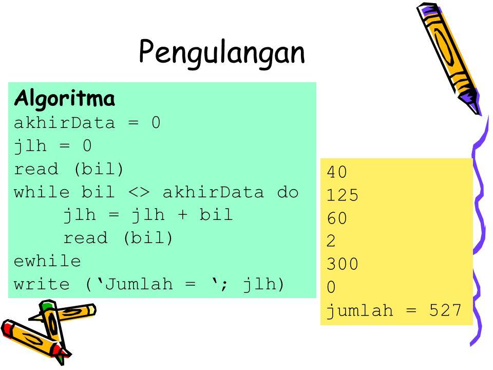Algoritma akhirData = 0 jlh = 0 read (bil) while bil <> akhirData do jlh = jlh + bil read (bil) ewhile write ('Jumlah = '; jlh) 40 125 60 2 300 0 jumlah = 527 Pengulangan