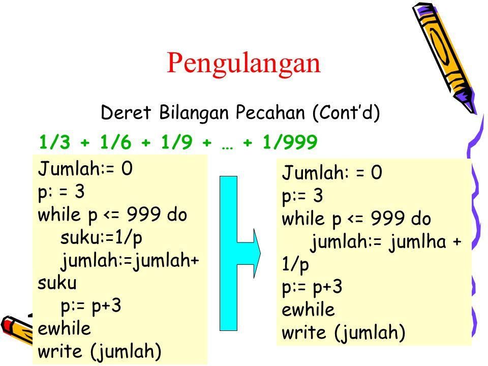 Deret Bilangan Pecahan (Cont'd) Jumlah:= 0 p: = 3 while p <= 999 do suku:=1/p jumlah:=jumlah+ suku p:= p+3 ewhile write (jumlah) 1/3 + 1/6 + 1/9 + … + 1/999 Jumlah: = 0 p:= 3 while p <= 999 do jumlah:= jumlha + 1/p p:= p+3 ewhile write (jumlah) Pengulangan