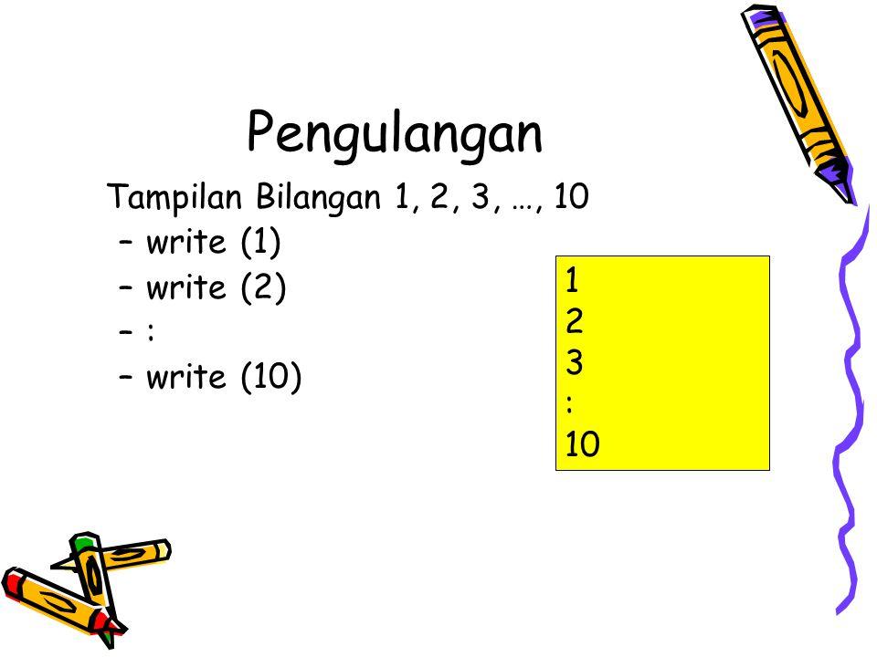 Pengulangan Algoritma tampilan bilangan 1, 2, 3,..10: Bilangan diberi nilai awal 1 write (bilangan) selama bilangan <= 10 bilangan ditambah dengan 1 write (bilangan) bilangan ditambah dengan 1 write (bilangan) …..