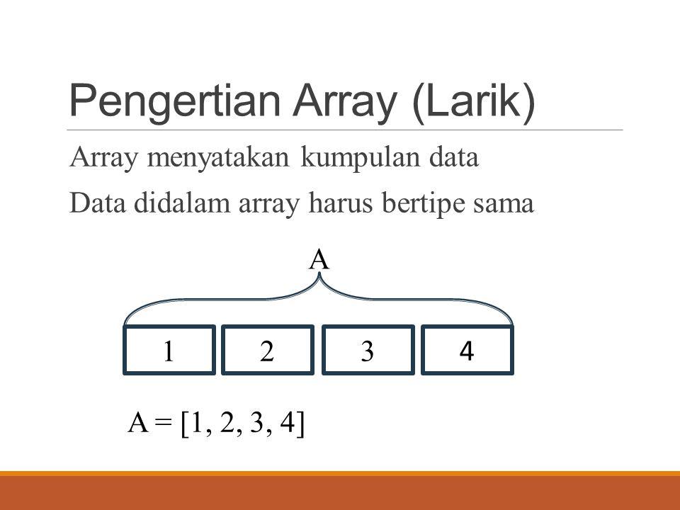 Pengertian Array (Larik) Array menyatakan kumpulan data Data didalam array harus bertipe sama 123 4 A A = [1, 2, 3, 4]