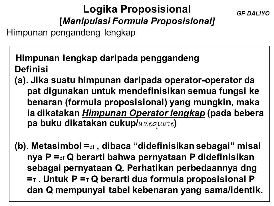 Logika Proposisional [Manipulasi Formula Proposisional] Himpunan penggandeng  dan  yaitu { ,  } dapat di gunakan untuk mendefinisikan semua operator diadika seperti dilihat dibawah ini : 1) p  q  p  q; 2) p  q  (  p  q); 3) p  q  (  p  q); 4) p/q  p  p; ( Buku Arindama Singh menggunakan  ) 5) p  q  (p  q); 6) p  q (p  q)  (p  q) (  (  p   q))  (  (p  q)) 7) p  q  (p  q)  [(p  q)  (p  q)] Perhatikan di ruas kiri semua operator diadika sedang diruas kanan hanya muncul operator  dan  GP DALIYO = df GP DALIYO