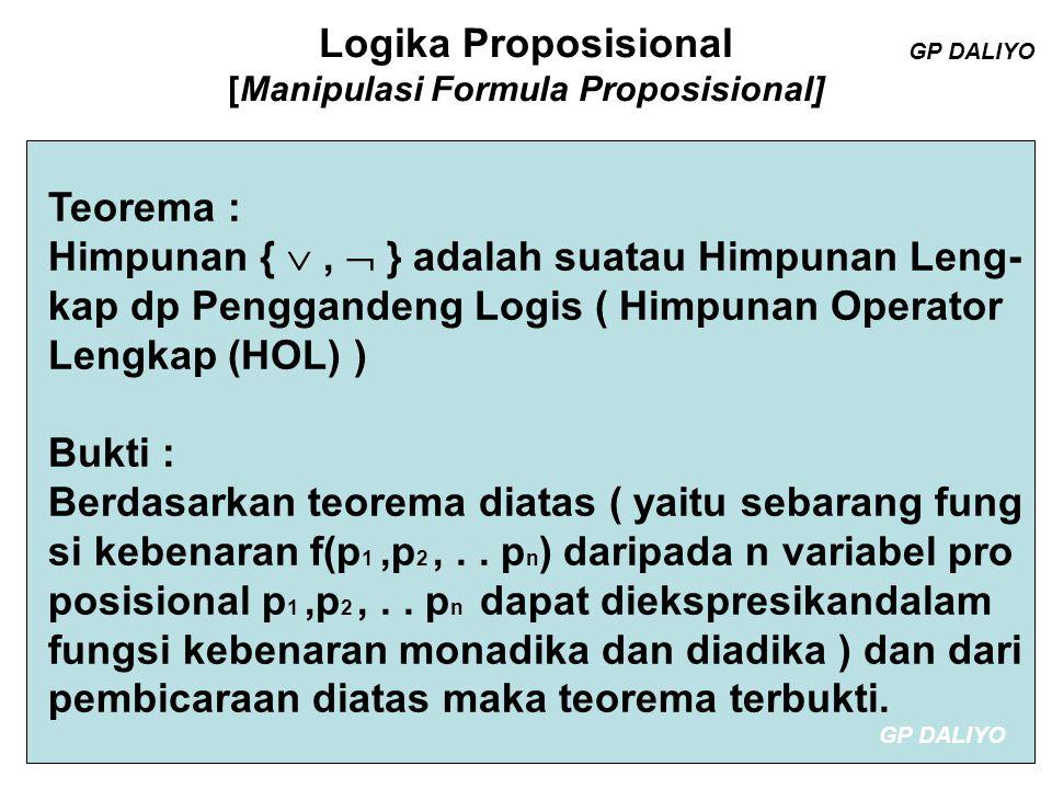 Logika Proposisional [Manipulasi Formula Proposisional] Himpunan Operator Lengkap lainnya : 1) { ,  } 2) { ,  } 3) { ,  } 4) { , Disjungsi terkondisi} ; Disjungsi terkon disi yaitu : If … Then … Else … yaitu [p,q,r] Kebenarannya dapat ditunjukan ???.