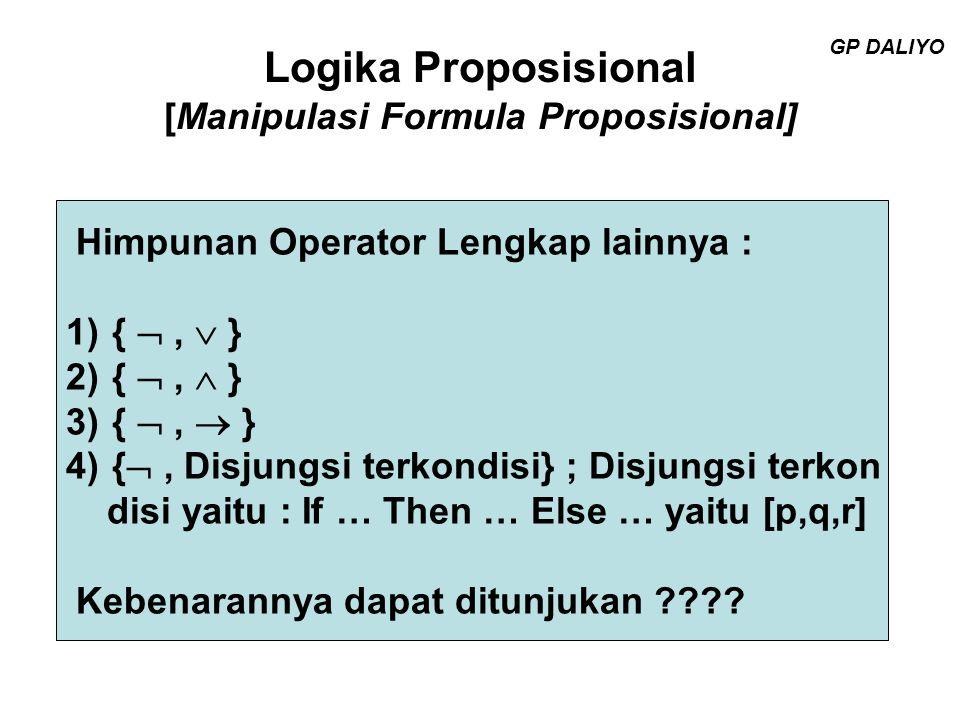 Logika Proposisional [Manipulasi Formula Proposisional] Fungsi Sheffer Perhatikan simbol / atau ↑ yang merupakan simbol Incompatibilitas atau NAND serta simbol ↓ yang me rupakan simbol Joint Denial atau NOR.