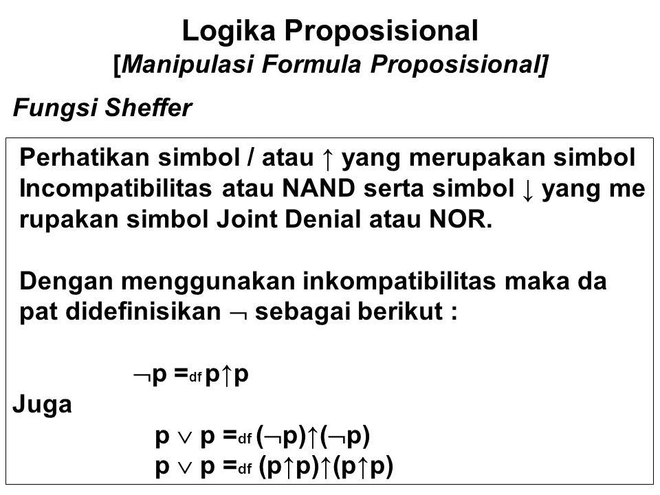 Logika Proposisional [Manipulasi Formula Proposisional] Fungsi Sheffer Dari :  p = df p↑p dan p  p = df (  p)↑(  p) p  p = df (p↑p)↑(p↑p) karena kita dapat didefinisikan  dan  dalam sim bol ↑ maka didapat bahwa simbol ↑ adalah komplit sendirian.