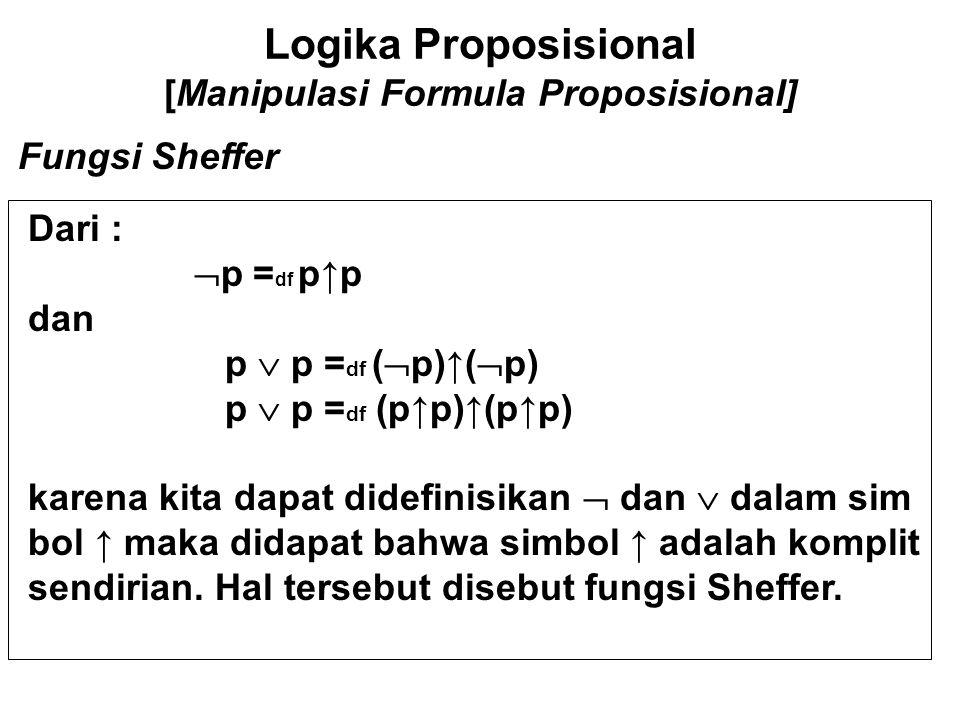 Logika Proposisional [Manipulasi Formula Proposisional] Fungsi Sheffer-Pseudo Bentuk lain adalah : Jika dibenarkan menggunakan tetapan logis T dan F maka kita dapat mendifinisikan :  p = df T → P dan p  q = df  (  p  q) ini berarti bahwa → merupakan fungsi Sheffer-Pse udo Yang lain adalah Disjungsi terkondisi :  p = df [F,p,T] dan p  q = df [T,p,q]