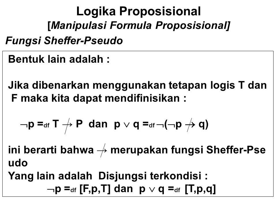 Logika Proposisional [Manipulasi Formula Proposisional] GP DALIYO Bentuk Normal Agar dapat membandingkan formula, maka sangat diper lukan adanya bentuk baku dimana formula-formula dapat diekspresikan.
