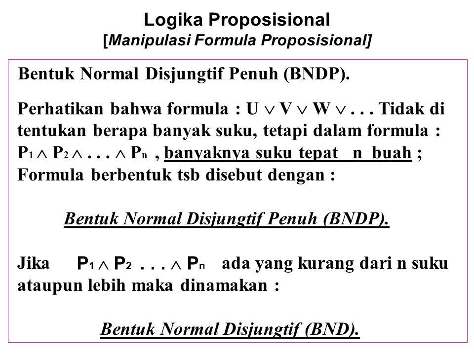 Logika Proposisional [Manipulasi Formula Proposisional] Untuk menuliskan suatu formula dalam bentuk BDNP,ambil setiap entri T dalam tabel kebenarannya, ekspresikan entri tsb sbg suatu konjungsi dp semua variabel-2 (T) atau nega si mereka (F), dan kemudian disjoinkan mereka Contoh : (  (p  q)  ((  p)  (  r))) pTTTTFFFFpTTTTFFFF qTTFFTTFFqTTFFTTFF rTFTFTFTFrTFTFTFTF (  (p  q)  ((  p)  (  r))) T F T Konjungan p  q  r p  q   r p   q  r p   q   r  p  q  r  p  q   r  p   q  r  p   q   r