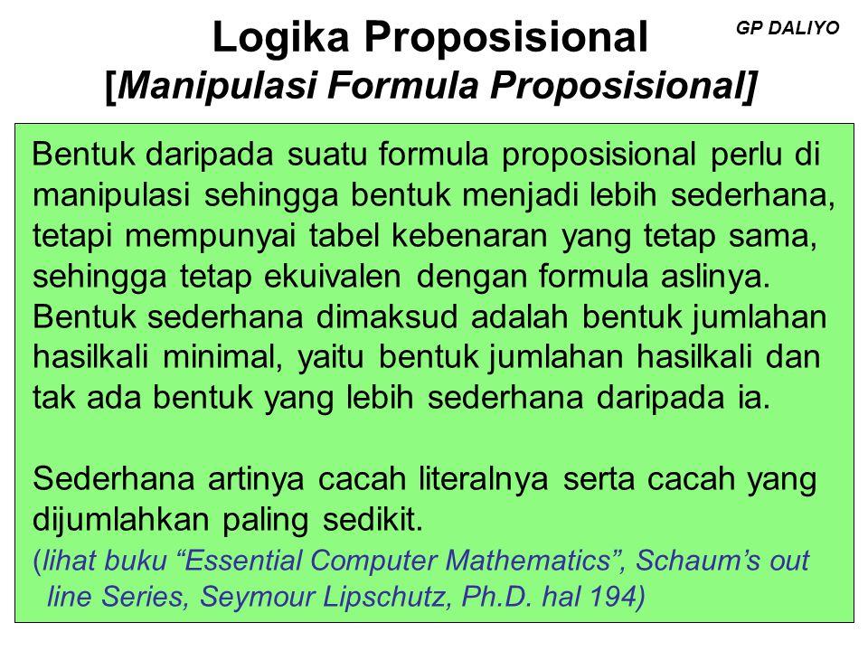 Logika Proposisional [Manipulasi Formula Proposisional] Andaikan p, q, r suatu proposisi, maka konsekuen si-konsekuensi dan ekuivalensi- ekuivalensi di bawah ini benar : 1.Hukum Tetapan : p  T p, p  F F, p  T T, p  F p, 2.