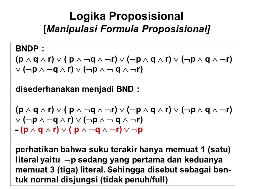 Logika Proposisional [Manipulasi Formula Proposisional] Bentuk normal yang lain adalah : Bentuk Normal Kunjungtif (BNK) dan Bentuk Normal Kunjungtif Penuh (BNKP) Dengan konsep yang similar dengan BND/BNDP maka di dapat konsep sebagai berikut : Untuk sebarang formula dalam n variabel proposisional p 1,p 2,..