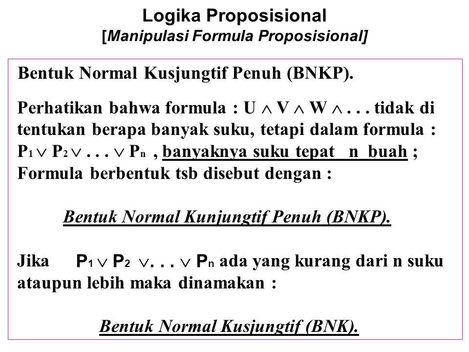 Logika Proposisional [Manipulasi Formula Proposisional] Untuk menuliskan suatu formula dalam bentuk BKNP,ambil setiap entri F dalam tabel kebenarannya, ekspresikan entri tsb sbg suatu disjungsi dp semua variabel-2 (jika F) atau negasi mereka (jika T), dn kemudian konjungsikan mereka Contoh : (  (p  q)  ((  p)  (  r))) pTTTTFFFFpTTTTFFFF qTTFFTTFFqTTFFTTFF rTFTFTFTFrTFTFTFTF (  (p  q)  ((  p)  (  r))) T F T Konjungan  p   q   r  p   q  r  p  q   r  p  q  r  p   q  r p   q  r p  q   r p  q  r