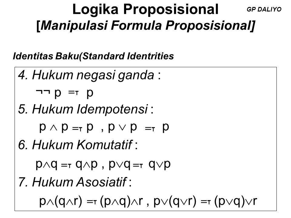Logika Proposisional [Manipulasi Formula Proposisional] 8.