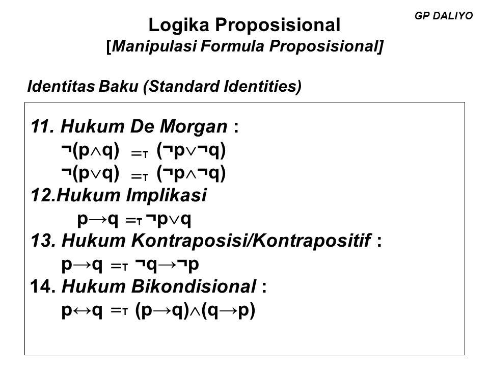 Logika Proposisional [Manipulasi Formula Proposisional] GP DALIYO Contoh Tanpa menggunakan tabel kebenaran tunjukan bahwa :  p  ((r  s)  (r   s))  (p  q) = T  p  q  r Jawab :  p  ((r  s)  (r   s))  (p  q) = T ((r  s)  (r   s))   p  (p  q) Aturan 6 = T (r  (s   s))   p  (p  q) Aturan 8 = T (r  T)   p  (p  q) Aturan 13 = T r   p  (p  q) Aturan 12 = T r  ((  p  p)  (  p  q)) Aturan 8 = T r  (F  (  p  q) Aturan 14 = T r  (  p  q) Aturan 11 = T  p  q  r Aturan 6 GP DALIYO