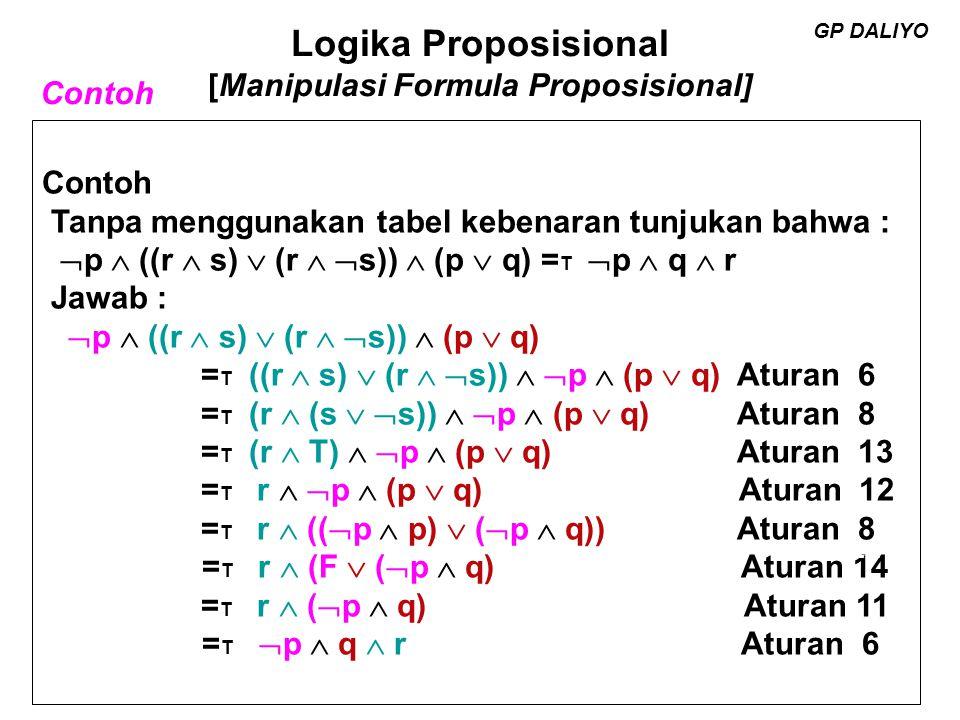 Logika Proposisional [Manipulasi Formula Proposisional] GP DALIYO Contoh Tanpa menggunakan tabel kebenaran tunjukan bahwa : p  (p  q) = T p Jawab : p  (p  q) = T (p  F)  (p  q) Aturan 11 = T p  (F  q) Aturan 7 = T p  F Aturan 10 = T p Aturan 11 GP DALIYO