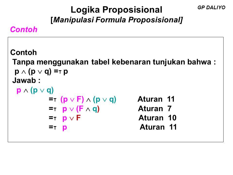 Logika Proposisional [Manipulasi Formula Proposisional] GP DALIYO Kerjakan tanpa menggunakan tabel kebenaran 1.