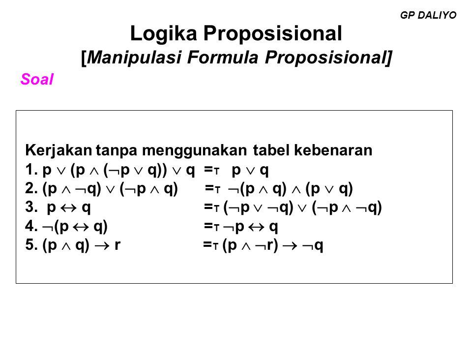 Logika Proposisional [Manipulasi Formula Proposisional] Himpunan pengandeng lengkap GP DALIYO Himpunan lengkap daripada penggandeng Definisi (a).