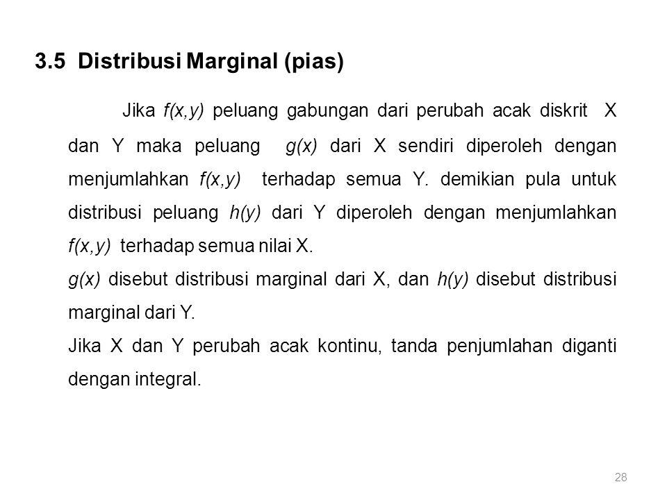 28 3.5 Distribusi Marginal (pias) Jika f(x,y) peluang gabungan dari perubah acak diskrit X dan Y maka peluang g(x) dari X sendiri diperoleh dengan men
