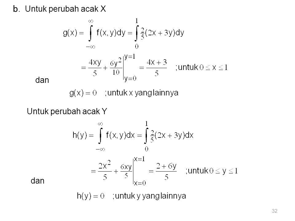 32 b. Untuk perubah acak X dan Untuk perubah acak Y dan