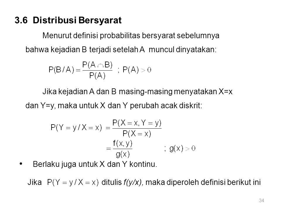 34 3.6 Distribusi Bersyarat Menurut definisi probabilitas bersyarat sebelumnya bahwa kejadian B terjadi setelah A muncul dinyatakan: Jika kejadian A dan B masing-masing menyatakan X=x dan Y=y, maka untuk X dan Y perubah acak diskrit: Berlaku juga untuk X dan Y kontinu.