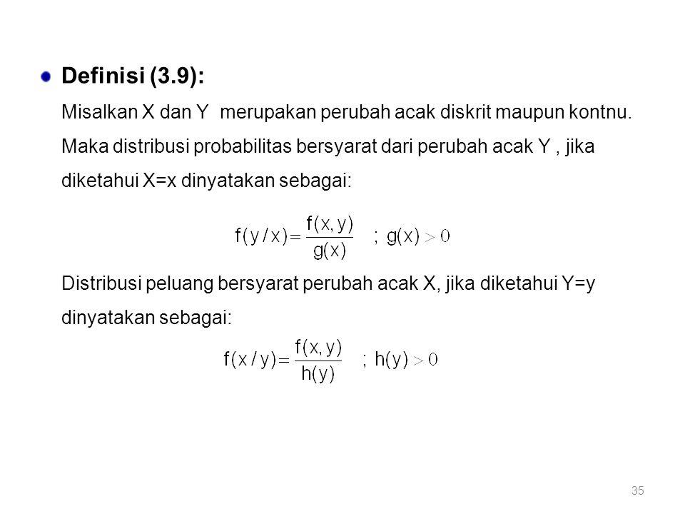 35 Definisi (3.9): Misalkan X dan Y merupakan perubah acak diskrit maupun kontnu. Maka distribusi probabilitas bersyarat dari perubah acak Y, jika dik
