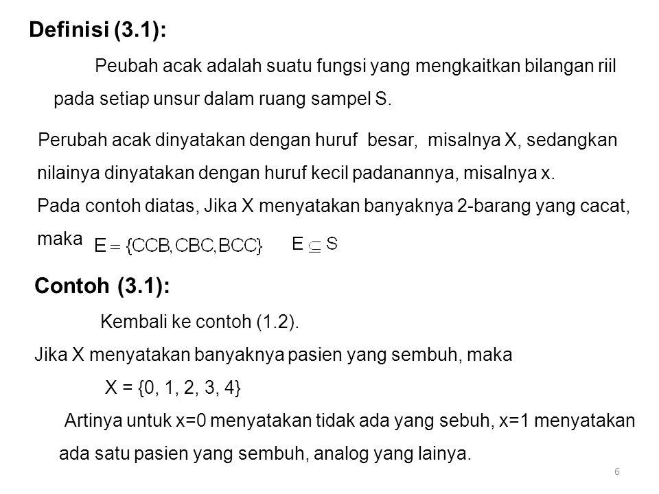 7 Definisi (3.2): Jika suatu ruang sampel memuat titik yang berhingga, atau banyaknya unsur sesuai dengan banyaknya bilangan cacah, maka ruang sampel tersebut dikatakan ruang sampel diskret.