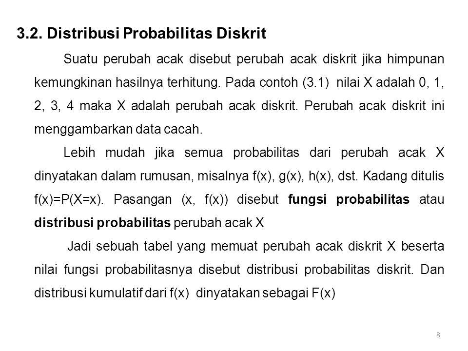 19 Definisi (3.6): Fungsi f(x,y) disebut distribusi probabilitas gabungan atau fungsi massa gabungan dari perubah acak diskret X dan Y jika: 1.